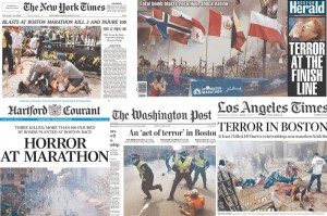 Compilation of US newspapers' front pages