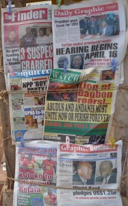 Variety of newspapers front pages