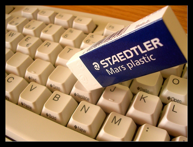 Photo of an eraser on a keyboard