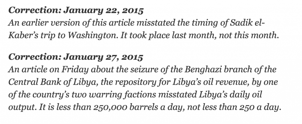 A New York Times correction appended to the end of an online article
